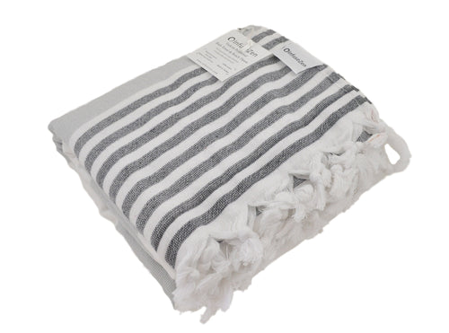 Grey & Black Striped Turkish Towel with Soft Terry Cloth Back