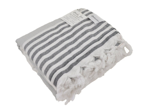 Beige & Black Striped Turkish Towel with Soft Terry Cloth Back