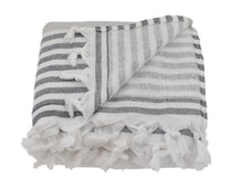 Load image into Gallery viewer, Grey & Black Striped Turkish Towel with Soft Terry Cloth Back