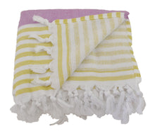 Load image into Gallery viewer, Lilac and Pistachio Striped Turkish Towel with Soft Terry Cloth Back