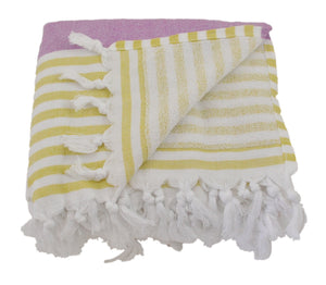 Lilac and Pistachio Striped Turkish Towel with Soft Terry Cloth Back