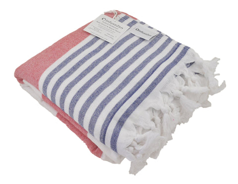 Red, White and Navy Blue Striped Turkish Towel with Soft Terry Cloth Back