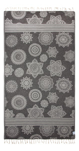 Black and Grey Turkish Towel with Reversible Flower Medallion Design