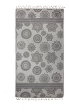 Load image into Gallery viewer, Black and Grey Turkish Towel with Reversible Flower Medallion Design
