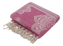 Load image into Gallery viewer, Bright Pink and Light Pink Turkish Towel with Reversible Flower Medallion Design