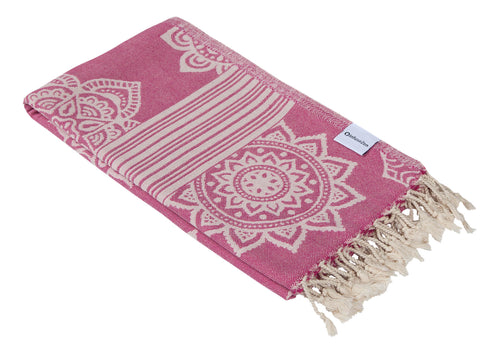 Bright Pink and Light Pink Turkish Towel with Reversible Flower Medallion Design