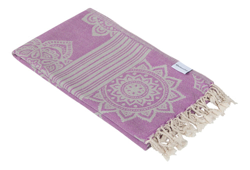 Lilac Purple and Grey Turkish Towel with Reversible Flower Medallion Design