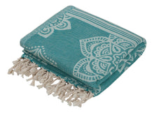 Load image into Gallery viewer, Sea Green Turkish Towel with Reversible Flower Medallion Design