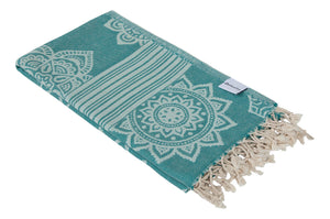 Sea Green Turkish Towel with Reversible Flower Medallion Design