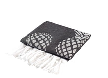 Load image into Gallery viewer, Black and White Reversible Pineapple Print Turkish Towel