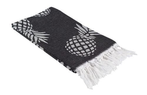 Black and White Reversible Pineapple Print Turkish Towel