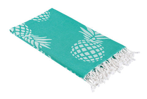 Mint and White Reversible Pineapple Print Turkish Towel