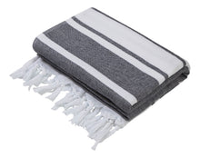 Load image into Gallery viewer, Black & White Stripe Terry Backed Turkish Towel