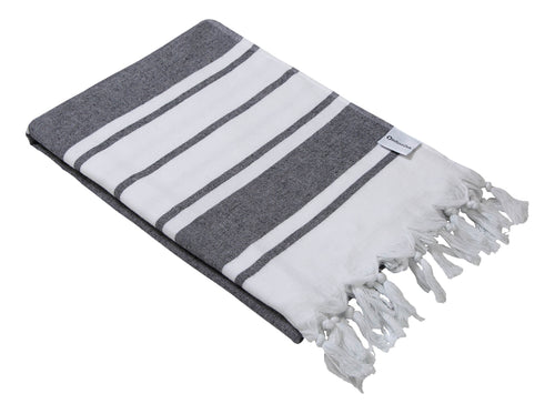 Black & White Stripe Terry Backed Turkish Towel