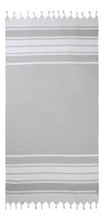 Load image into Gallery viewer, Grey & White Stripe Terry Backed Turkish Towel