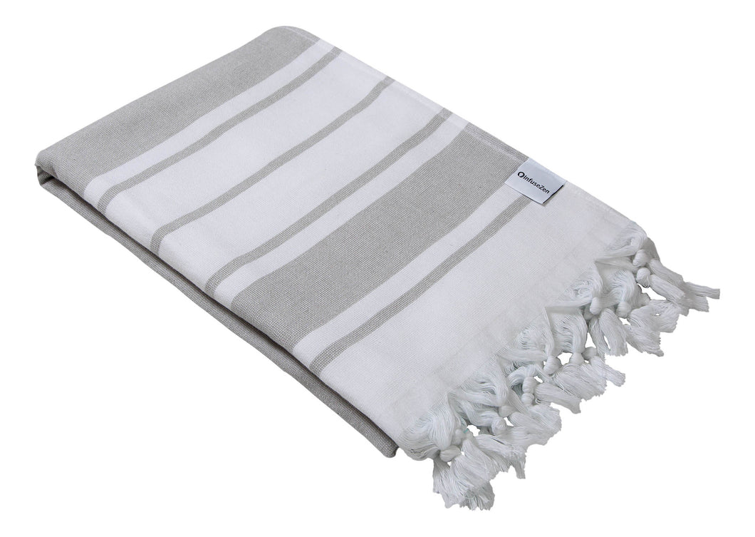 Grey & White Stripe Terry Backed Turkish Towel