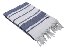 Load image into Gallery viewer, Navy Blue & White Stripe Terry Backed Turkish Towel