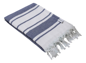 Navy Blue & White Stripe Terry Backed Turkish Towel