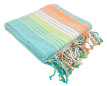 Load image into Gallery viewer, Mint Variegated Turkish Peshtemal Towel