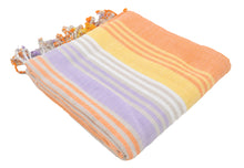 Load image into Gallery viewer, Orange Variegated Turkish Peshtemal Towel