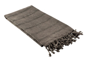 Faded Black / Charcoal Grey Stonewashed Turkish Peshtemal Towels for the Bath, Beach, Pool, Spa or Gym