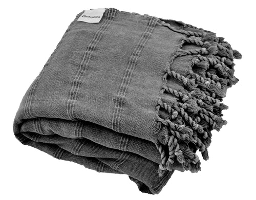 Large Charcoal Grey / Faded Black Stonewashed Thin Turkish Throw Blanket