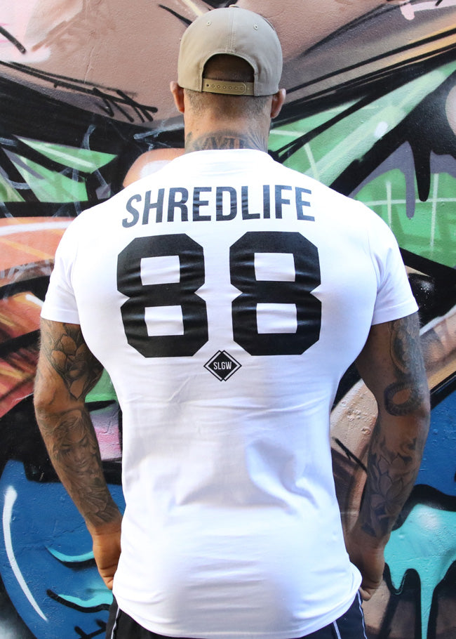shred life tall tee shirt white 88 casual