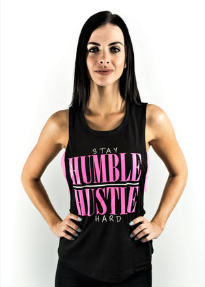 ladies exposed open back singlet humble hustle front