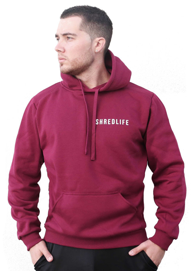 shred life lifestyle hoodie maroon jumper winter