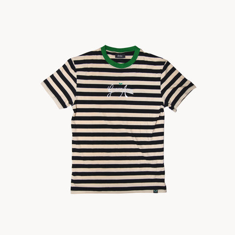 Logo Stripe Tee - Cream/Black/Green
