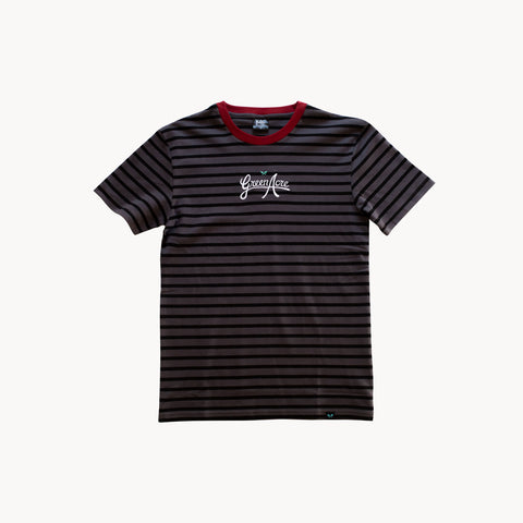 Green Acre Stripe Tee - Gray/Black/Red