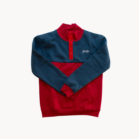 Colorblock Button Up Sweater - Red/Blue