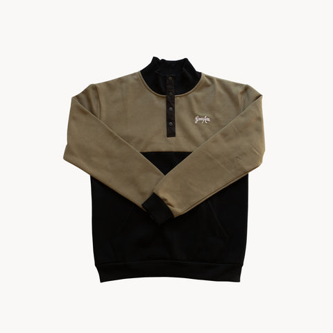 Colorblock Button Up Sweater - Black/Olive