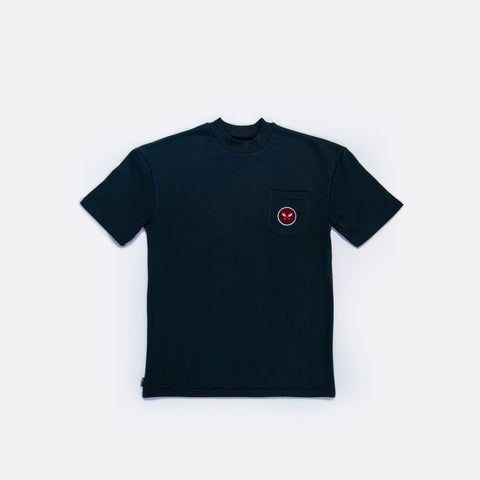 Sprout French Terry Mock Neck Pocket Tee - Navy Blue