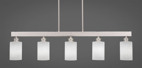 Toltec Edge Brushed Nickel 5 Lights White Muslin 1185-BN-310