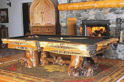 Drawknife Yellowstone Billiard Table in room