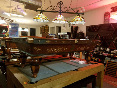"1880""s  Jacob Strahle Rosewood & Gold leaf 8.5 Pool Table"