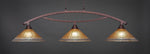 Toltec Bow Bronze 3 Lights AMBER CRYSTAL 873-BRZ-710