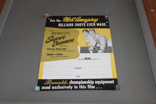 Willie Mosconi & Jimmy Caras Super Cuemen Movie Poster for sale online