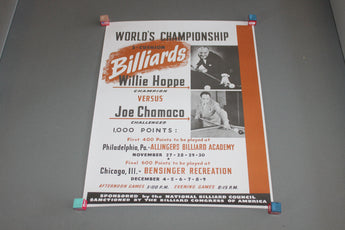 Willie Hoppe vs Joe Chamaco World Champion Billiards Poster for sale online