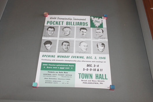 World Championship Pocket Billiards Poster c. 1946 for sale online
