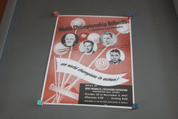 World Championship Pocket Billiards & 3 Cushion Poster c. 1947 for sale online