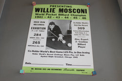 Willie Mosconi Pocket Billiard Champion Poster c. 1945 for sale online