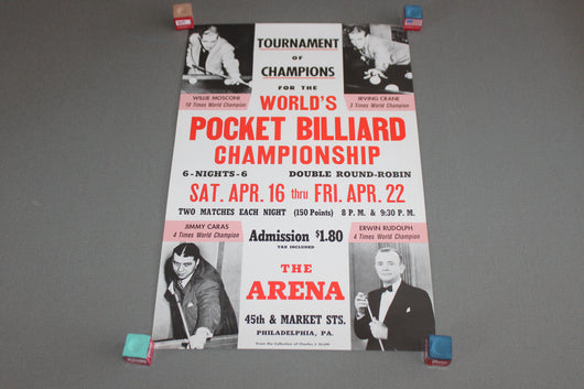 Worlds Pocket Billiard Championship Poster c. 1945 for sale online