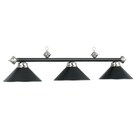 "54"" 3 Light Billiard Light - Matte Black/Steel"
