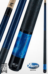 Viking Pool Cue A281 Ocean Blue Stain on Northwoods Maple w/ Blue Pearl Sleeve linen wrap pearlized for sale