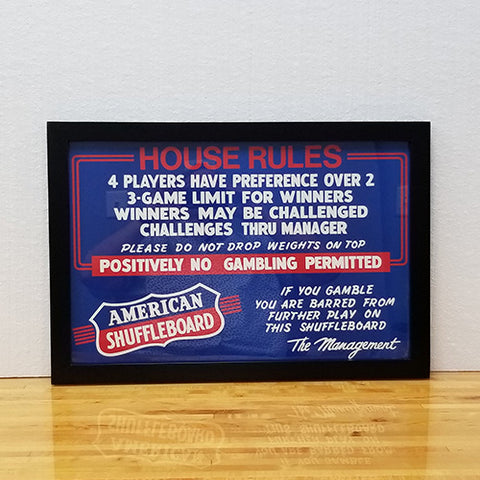 "CHAMPIONSHIP ""HOUSE RULES"" FRAMED"