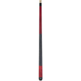 Valhalla Pool Cue Red Stain, Linen Wrap Hard Rock Maple & Nickel Silver Rings - VA114 entire cue stick