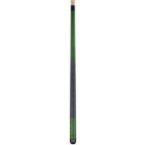 Valhalla Pool Cue Green Stain, Linen Wrap Hard Rock Maple & Nickel Silver Rings - VA115 entire cue stick