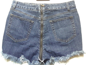 Back Zipper Jeans Ripped Shorts - Diplomatic Xchange